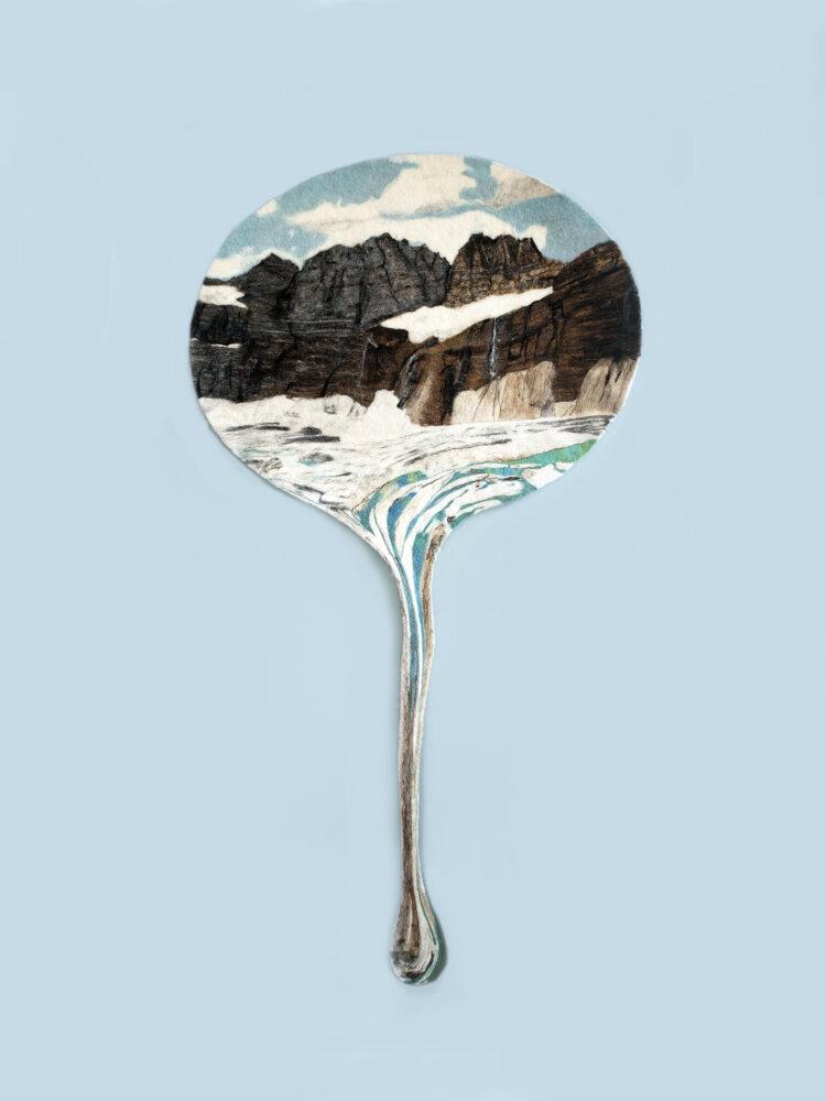 glacier melting in a drop on felted wool by daniela edburg
